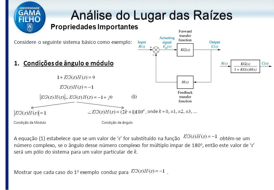 Análise do Lugar das Raízes Propriedades Importantes Considere o seguinte sistema básico como exemplo: 1.Condições de ângulo e módulo onde k = 0, ±1,