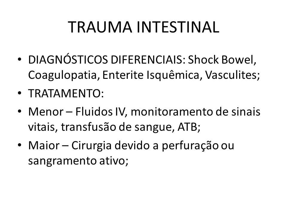 TRAUMA INTESTINAL DIAGNÓSTICOS DIFERENCIAIS: Shock Bowel, Coagulopatia, Enterite Isquêmica, Vasculites; TRATAMENTO: Menor – Fluidos IV, monitoramento