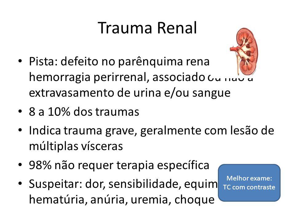Trauma Renal Pista: defeito no parênquima renal com hemorragia perirrenal, associado ou não a extravasamento de urina e/ou sangue 8 a 10% dos traumas