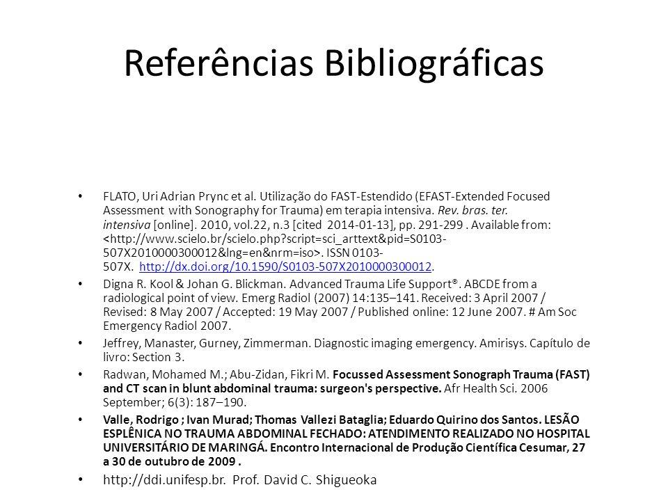Referências Bibliográficas FLATO, Uri Adrian Prync et al. Utilização do FAST-Estendido (EFAST-Extended Focused Assessment with Sonography for Trauma)