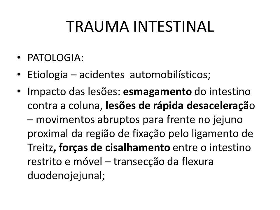 TRAUMA INTESTINAL PATOLOGIA: Etiologia – acidentes automobilísticos; Impacto das lesões: esmagamento do intestino contra a coluna, lesões de rápida de