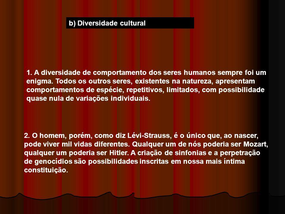 b) Diversidade cultural 1. A diversidade de comportamento dos seres humanos sempre foi um enigma. Todos os outros seres, existentes na natureza, apres