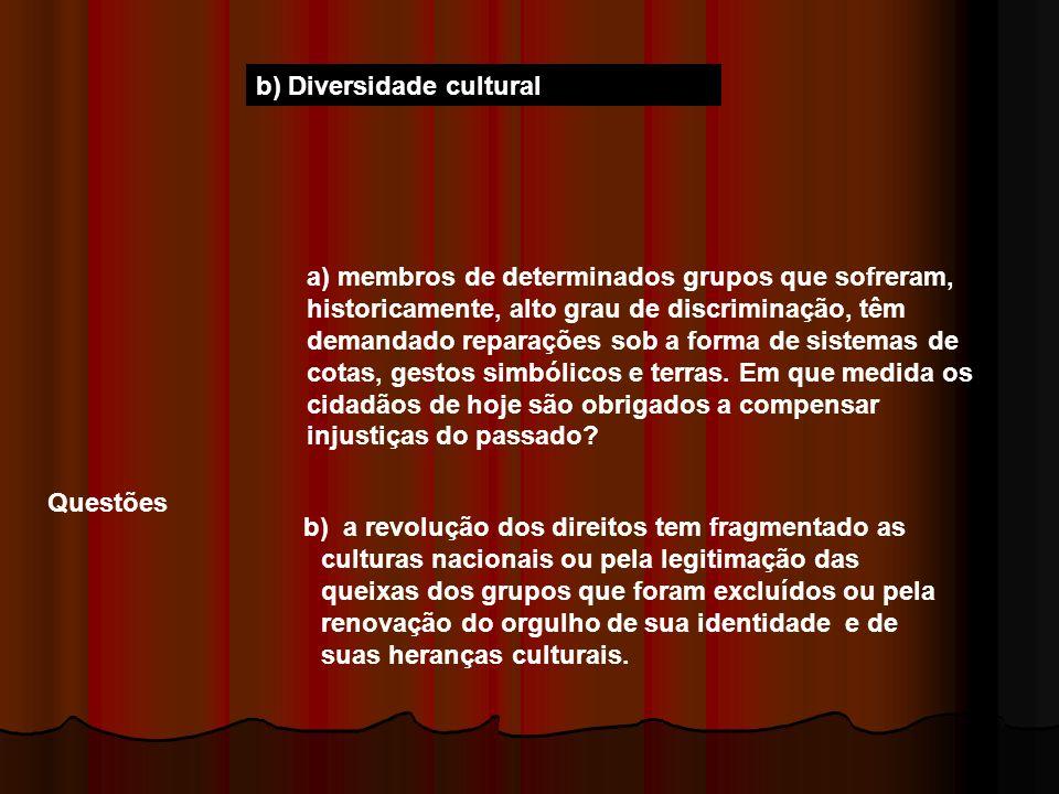 b) Diversidade cultural Questões a) membros de determinados grupos que sofreram, historicamente, alto grau de discriminação, têm demandado reparações