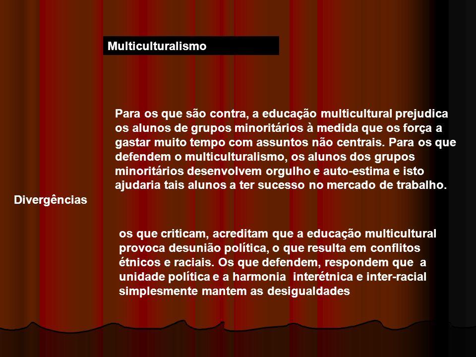 Multiculturalismo Divergências Para os que são contra, a educação multicultural prejudica os alunos de grupos minoritários à medida que os força a gas