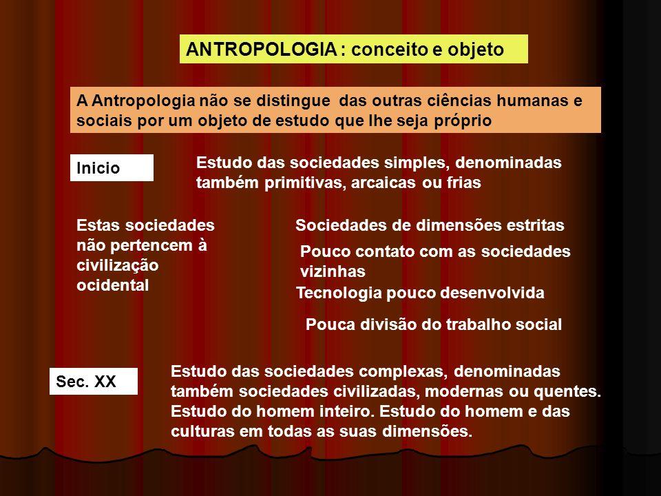 ANTROPOLOGIA : conceito e objeto A Antropologia não se distingue das outras ciências humanas e sociais por um objeto de estudo que lhe seja próprio In