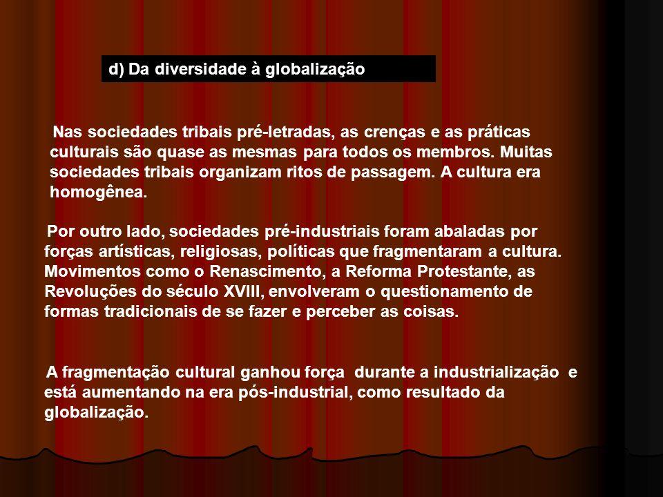 d) Da diversidade à globalização Nas sociedades tribais pré-letradas, as crenças e as práticas culturais são quase as mesmas para todos os membros. Mu