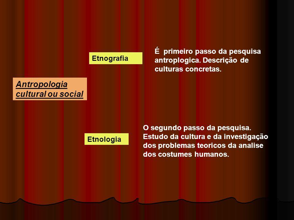 Antropologia cultural ou social Etnografia É primeiro passo da pesquisa antroplogica. Descrição de culturas concretas. Etnologia O segundo passo da pe