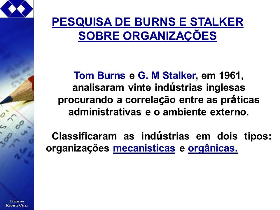 Professor Roberto César PESQUISA DE BURNS E STALKER SOBRE ORGANIZAÇÕES Tom Burns e G. M Stalker, em 1961, analisaram vinte ind ú strias inglesas procu