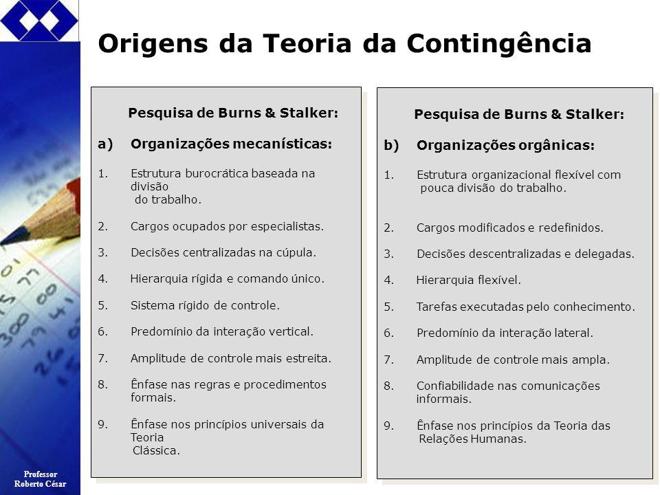 Professor Roberto César Origens da Teoria da Contingência Pesquisa de Burns & Stalker: a)Organizações mecanísticas: 1.Estrutura burocrática baseada na