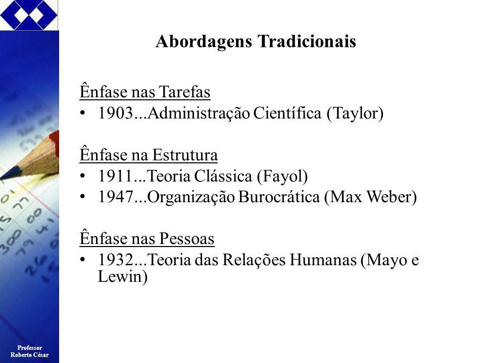 Professor Roberto César Abordagens Tradicionais Ênfase nas Tarefas 1903...Administração Científica (Taylor) Ênfase na Estrutura 1911...Teoria Clássica