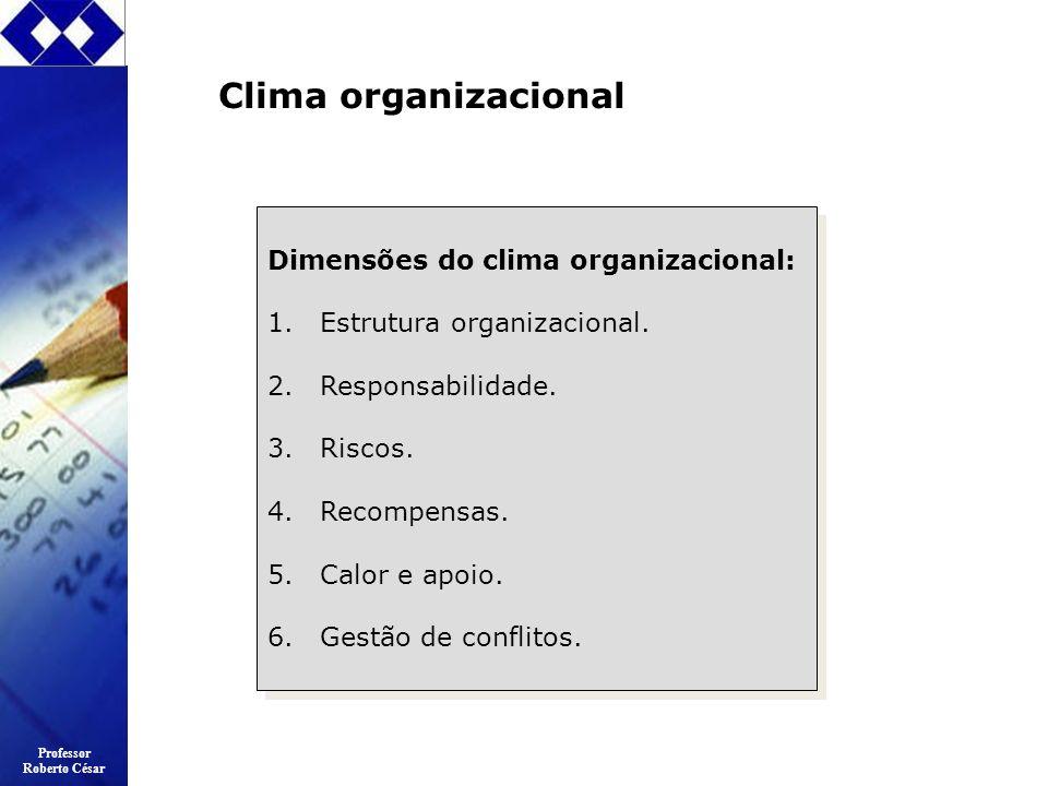 Professor Roberto César Clima organizacional Dimensões do clima organizacional: 1.Estrutura organizacional. 2.Responsabilidade. 3.Riscos. 4.Recompensa