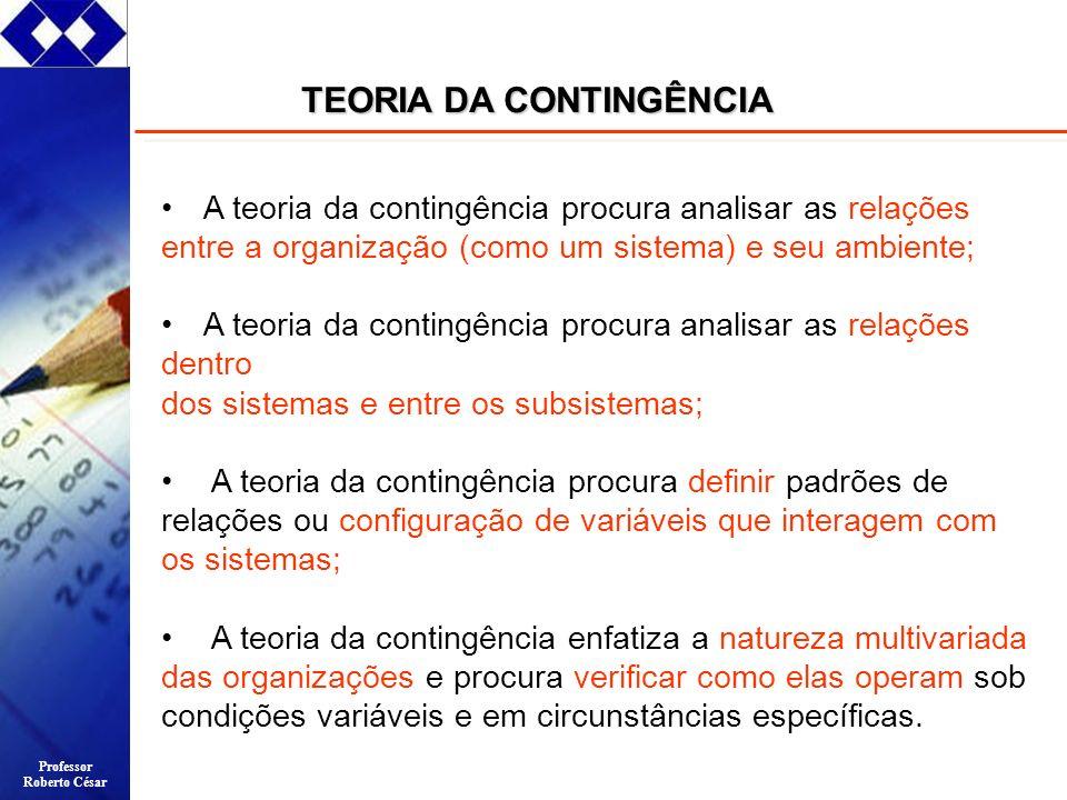 Professor Roberto César A teoria da contingência procura analisar as relações entre a organização (como um sistema) e seu ambiente; A teoria da contin