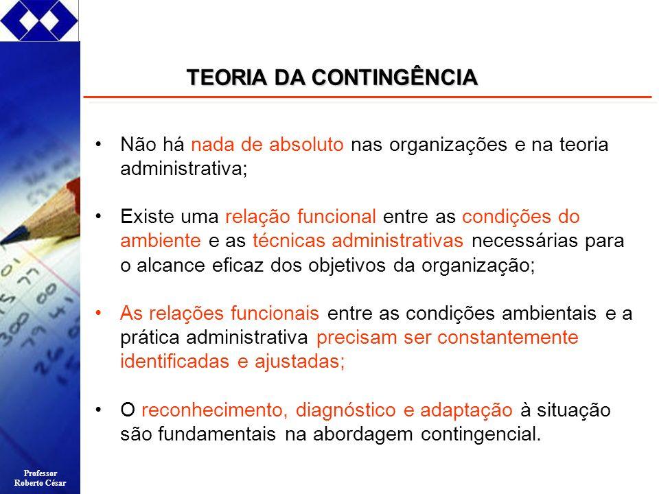 Professor Roberto César Não há nada de absoluto nas organizações e na teoria administrativa; Existe uma relação funcional entre as condições do ambien