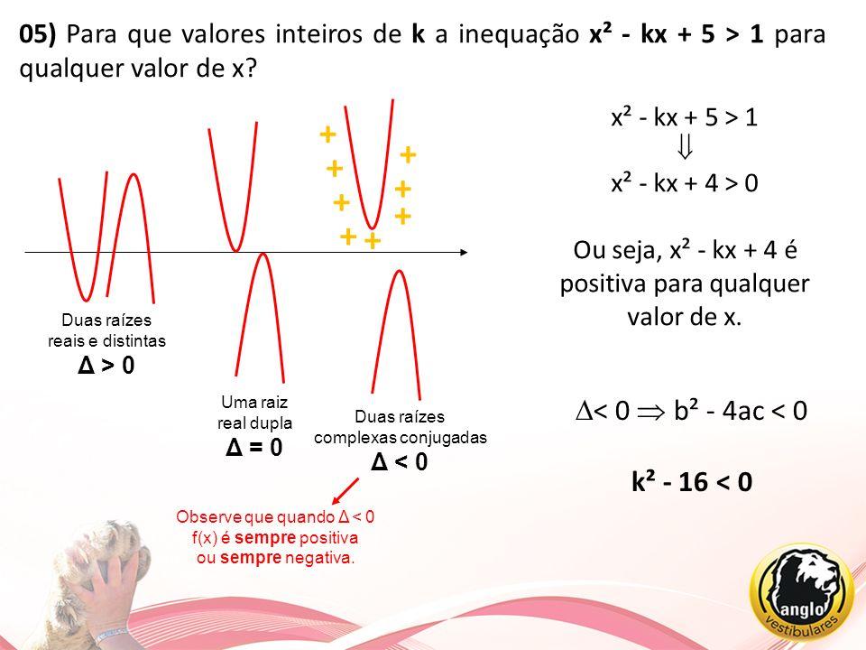 05) Para que valores inteiros de k a inequação x² - kx + 5 > 1 para qualquer valor de x? Duas raízes reais e distintas Δ > 0 Uma raiz real dupla Δ = 0