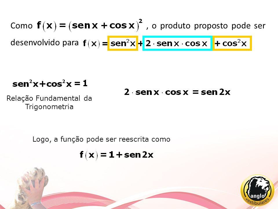 Como, o produto proposto pode ser desenvolvido para Relação Fundamental da Trigonometria Logo, a função pode ser reescrita como