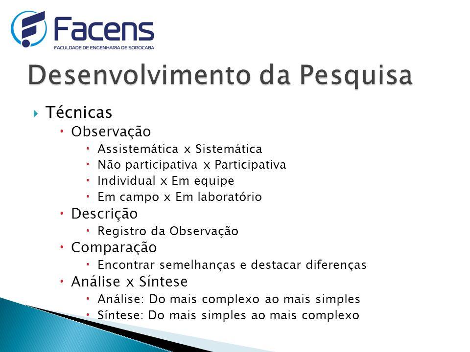Técnicas Observação Assistemática x Sistemática Não participativa x Participativa Individual x Em equipe Em campo x Em laboratório Descrição Registro