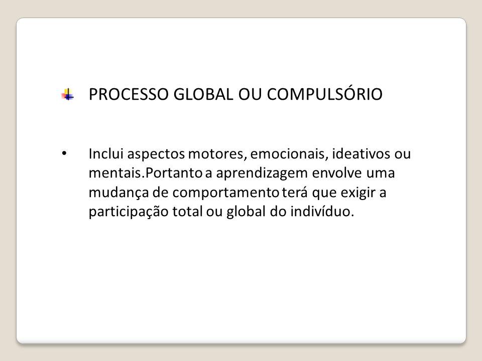 PROCESSO GLOBAL OU COMPULSÓRIO Inclui aspectos motores, emocionais, ideativos ou mentais.Portanto a aprendizagem envolve uma mudança de comportamento