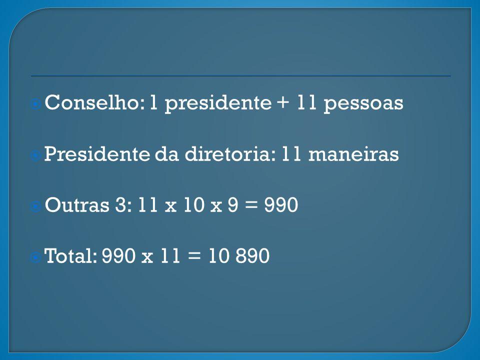 Conselho: 1 presidente + 11 pessoas Presidente da diretoria: 11 maneiras Outras 3: 11 x 10 x 9 = 990 Total: 990 x 11 = 10 890