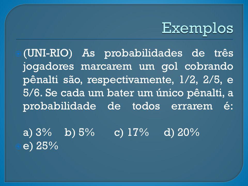 (UNI-RIO) As probabilidades de três jogadores marcarem um gol cobrando pênalti são, respectivamente, 1/2, 2/5, e 5/6. Se cada um bater um único pênalt