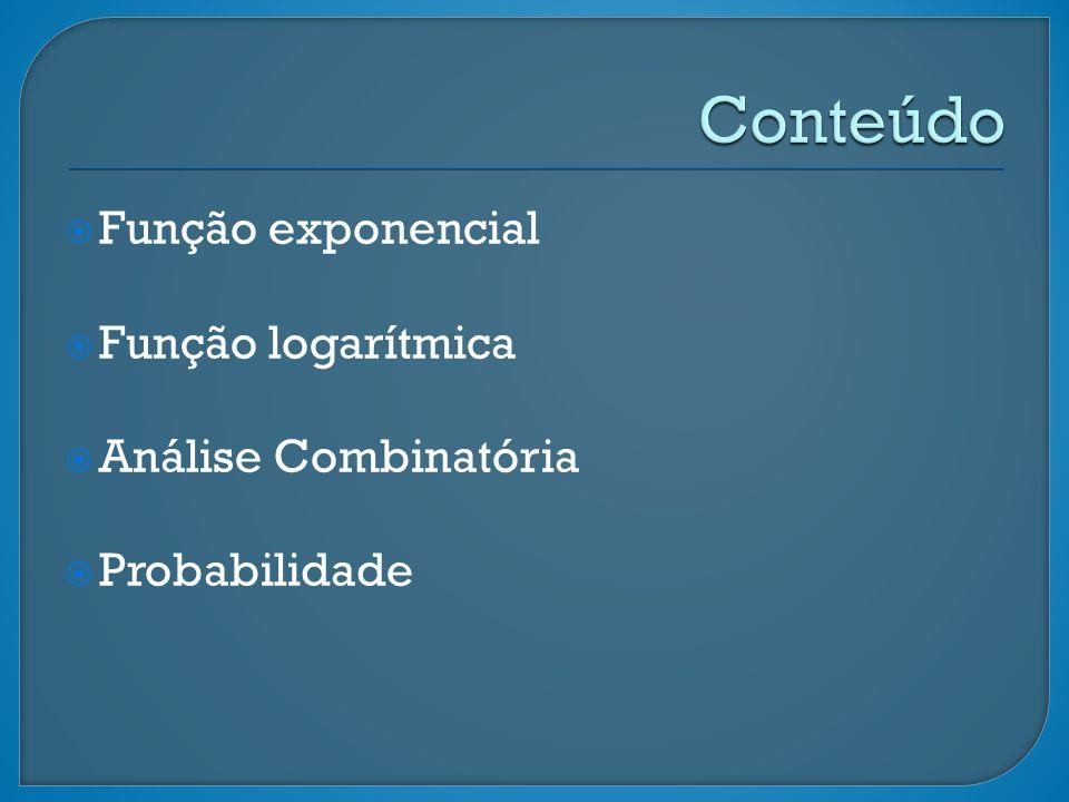 Função exponencial Função logarítmica Análise Combinatória Probabilidade