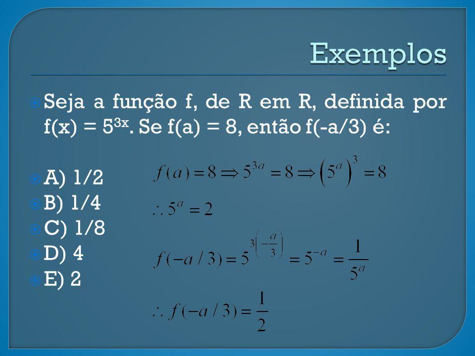 Seja a função f, de R em R, definida por f(x) = 5 3x. Se f(a) = 8, então f(-a/3) é: A) 1/2 B) 1/4 C) 1/8 D) 4 E) 2