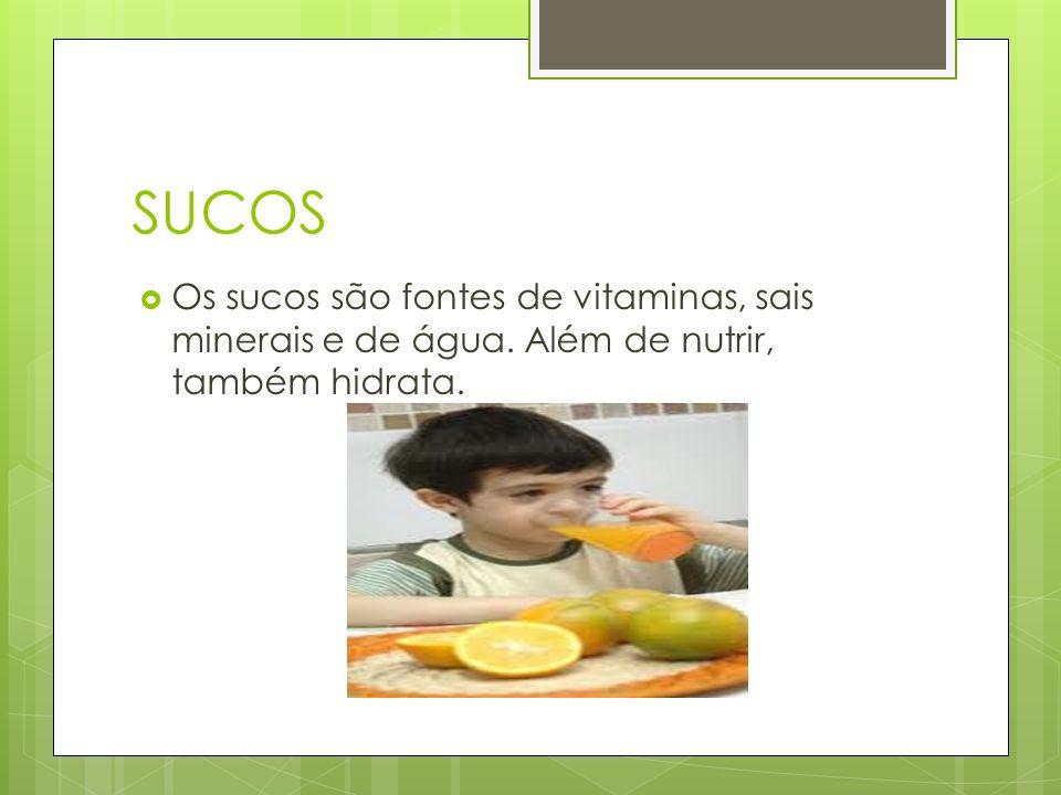 SUCOS Os sucos são fontes de vitaminas, sais minerais e de água. Além de nutrir, também hidrata.