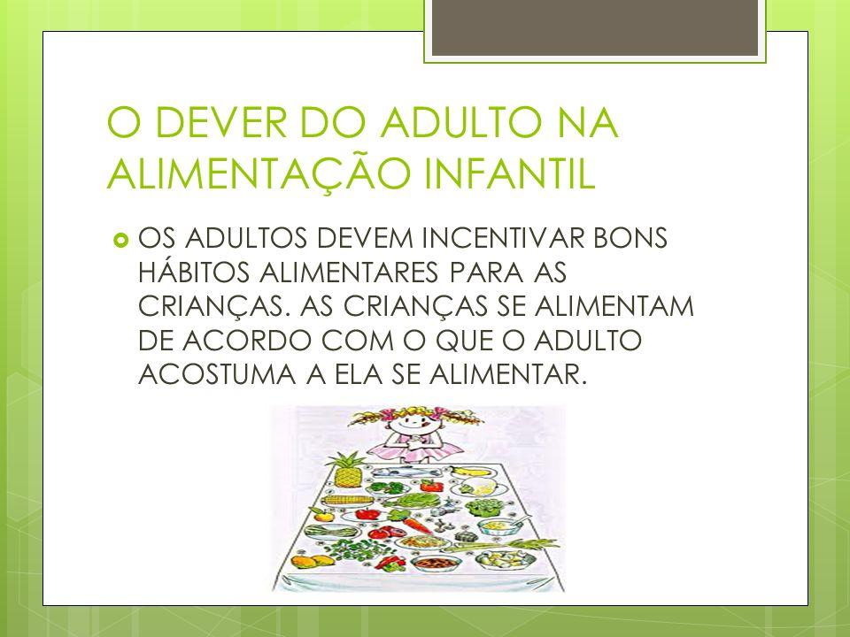 O DEVER DO ADULTO NA ALIMENTAÇÃO INFANTIL OS ADULTOS DEVEM INCENTIVAR BONS HÁBITOS ALIMENTARES PARA AS CRIANÇAS. AS CRIANÇAS SE ALIMENTAM DE ACORDO CO