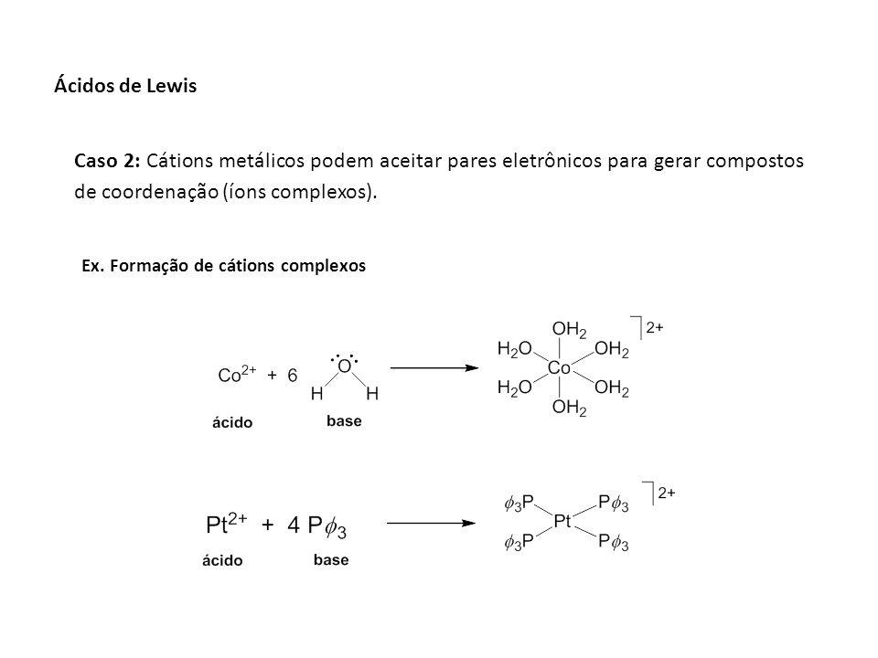 Caso 2: Cátions metálicos podem aceitar pares eletrônicos para gerar compostos de coordenação (íons complexos). Ex. Formação de cátions complexos Ácid