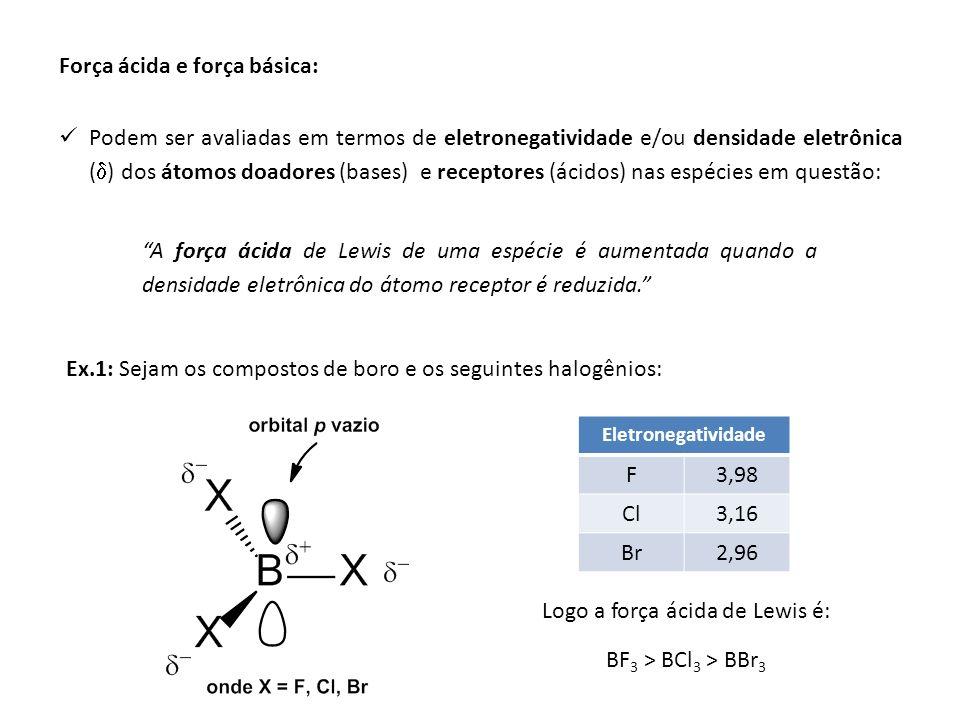 Força ácida e força básica: Podem ser avaliadas em termos de eletronegatividade e/ou densidade eletrônica ( ) dos átomos doadores (bases) e receptores