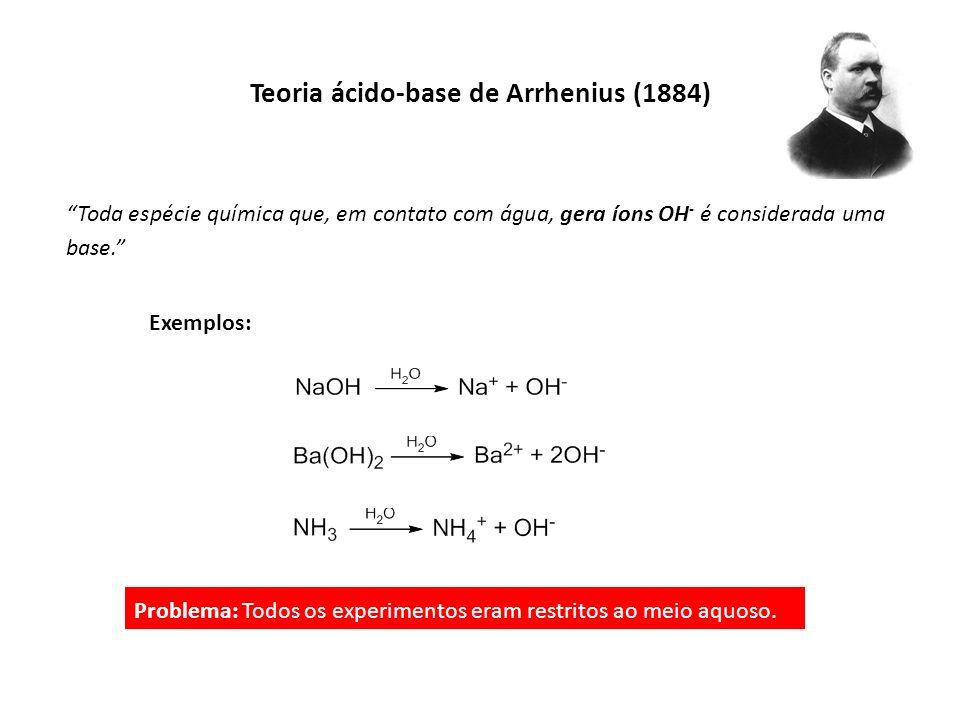 Toda espécie química que, em contato com água, gera íons OH - é considerada uma base. Exemplos: Teoria ácido-base de Arrhenius (1884) Problema: Todos
