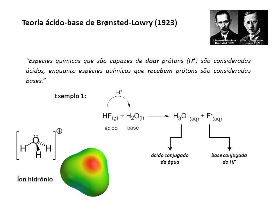 Teoria ácido-base de Brønsted-Lowry (1923) Exemplo 2: Exercício: Montar as equações de ionização do ácido sulfúrico em meio aquoso e indicar o ácido, a base e seus respectivos ácidos e bases conjugadas.