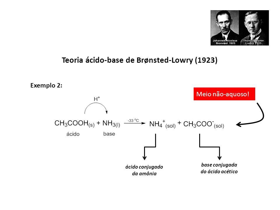 Exemplo 2: Meio não-aquoso! ácido conjugado da amônia base conjugada do ácido acético Teoria ácido-base de Brønsted-Lowry (1923)