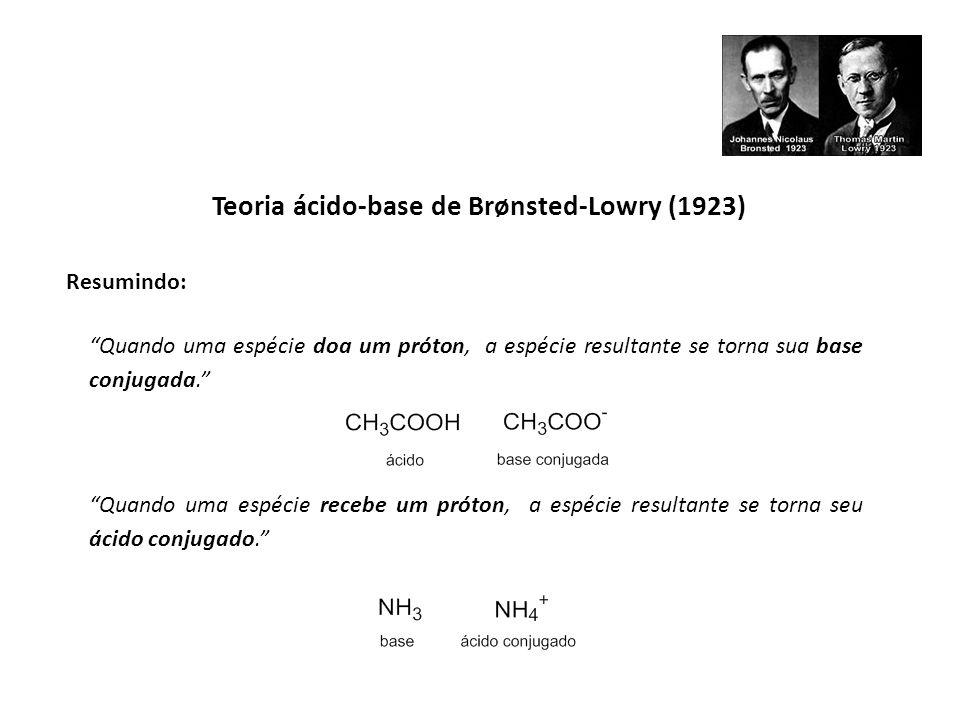 Teoria ácido-base de Lewis (1923) Espécies químicas que são capazes de aceitar pares eletrônicos são consideradas ácidos, enquanto espécies químicas que podem doar pares eletrônicos são consideradas bases.