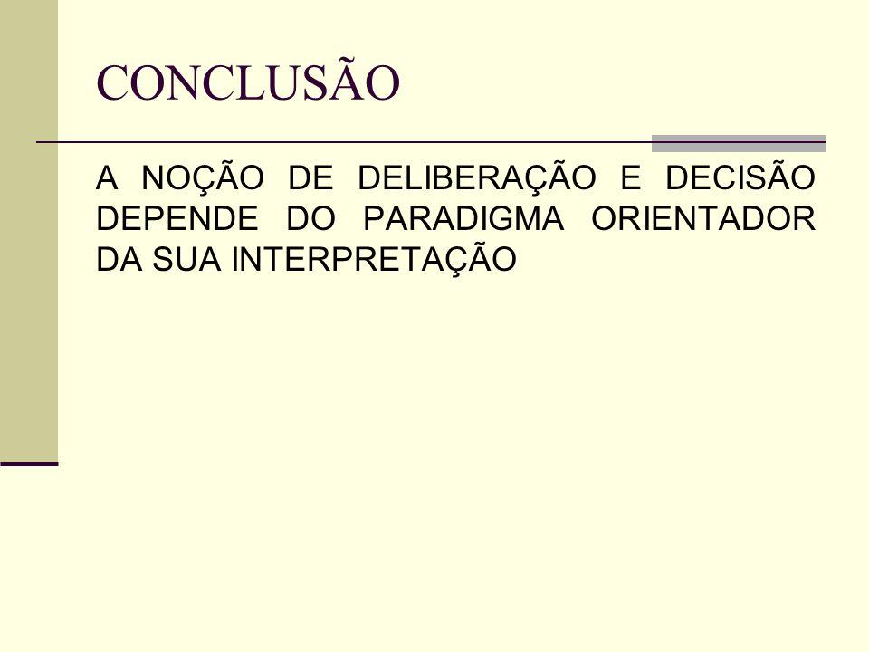 CONCLUSÃO A NOÇÃO DE DELIBERAÇÃO E DECISÃO DEPENDE DO PARADIGMA ORIENTADOR DA SUA INTERPRETAÇÃO