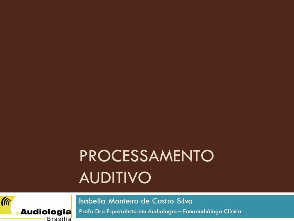 PROCESSAMENTO AUDITIVO Isabella Monteiro de Castro Silva Profa Dra Especialista em Audiologia – Fonoaudióloga Clínica