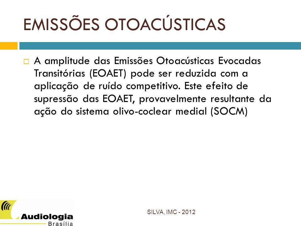 EMISSÕES OTOACÚSTICAS SILVA, IMC - 2012 A amplitude das Emissões Otoacústicas Evocadas Transitórias (EOAET) pode ser reduzida com a aplicação de ruído competitivo.