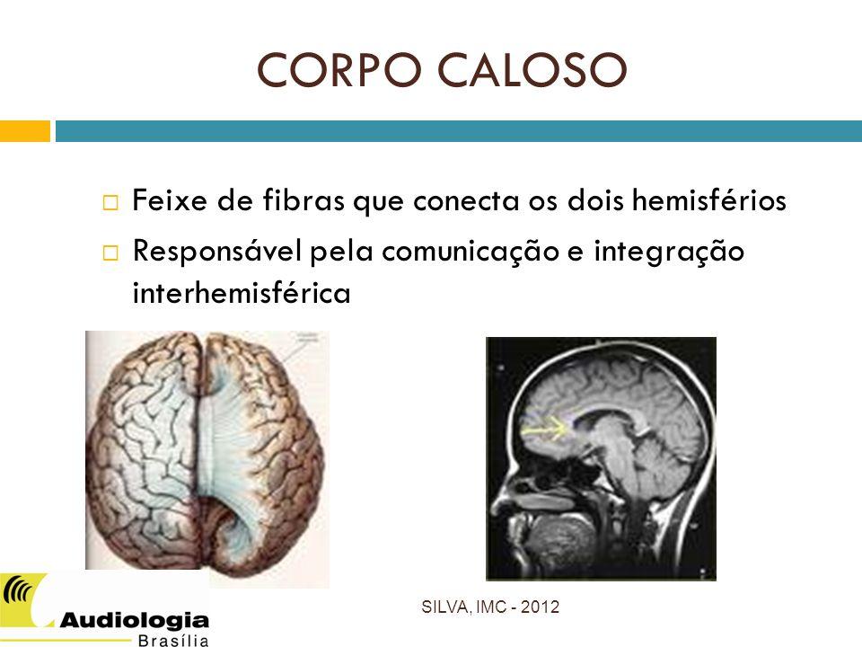 CORPO CALOSO Feixe de fibras que conecta os dois hemisférios Responsável pela comunicação e integração interhemisférica SILVA, IMC - 2012