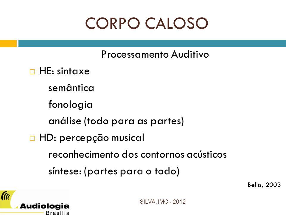 CORPO CALOSO Processamento Auditivo HE: sintaxe semântica fonologia análise (todo para as partes) HD: percepção musical reconhecimento dos contornos acústicos síntese: (partes para o todo) Bellis, 2003 SILVA, IMC - 2012
