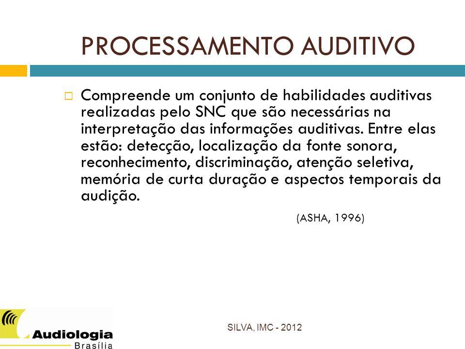 PROCESSAMENTO AUDITIVO Compreende um conjunto de habilidades auditivas realizadas pelo SNC que são necessárias na interpretação das informações auditivas.