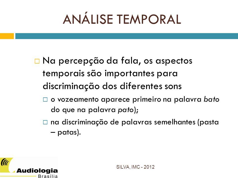 ANÁLISE TEMPORAL Na percepção da fala, os aspectos temporais são importantes para discriminação dos diferentes sons o vozeamento aparece primeiro na palavra bato do que na palavra pato); na discriminação de palavras semelhantes (pasta – patas).