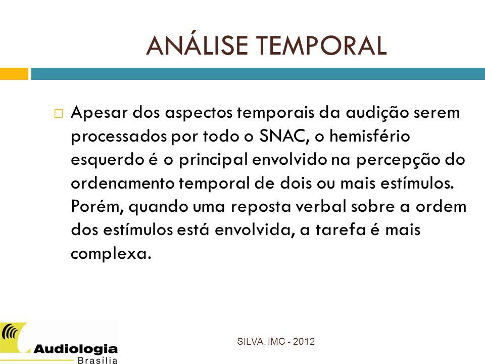 Apesar dos aspectos temporais da audição serem processados por todo o SNAC, o hemisfério esquerdo é o principal envolvido na percepção do ordenamento temporal de dois ou mais estímulos.