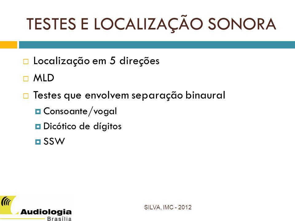TESTES E LOCALIZAÇÃO SONORA SILVA, IMC - 2012 Localização em 5 direções MLD Testes que envolvem separação binaural Consoante/vogal Dicótico de dígitos SSW