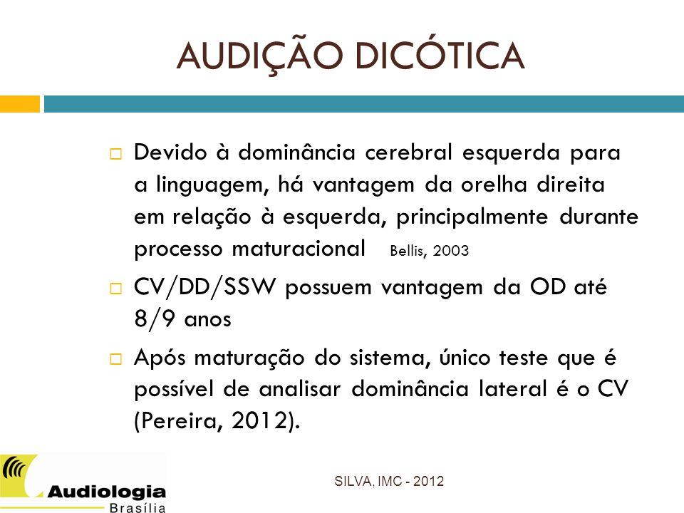 AUDIÇÃO DICÓTICA Devido à dominância cerebral esquerda para a linguagem, há vantagem da orelha direita em relação à esquerda, principalmente durante processo maturacional Bellis, 2003 CV/DD/SSW possuem vantagem da OD até 8/9 anos Após maturação do sistema, único teste que é possível de analisar dominância lateral é o CV (Pereira, 2012).