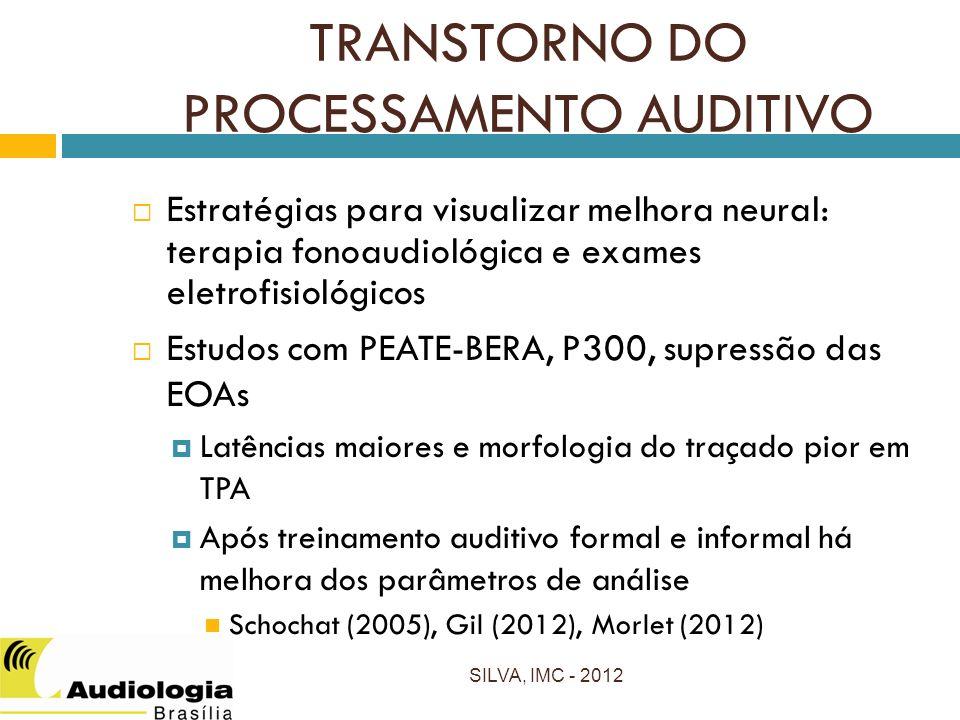 TRANSTORNO DO PROCESSAMENTO AUDITIVO Estratégias para visualizar melhora neural: terapia fonoaudiológica e exames eletrofisiológicos Estudos com PEATE-BERA, P300, supressão das EOAs Latências maiores e morfologia do traçado pior em TPA Após treinamento auditivo formal e informal há melhora dos parâmetros de análise Schochat (2005), Gil (2012), Morlet (2012) SILVA, IMC - 2012