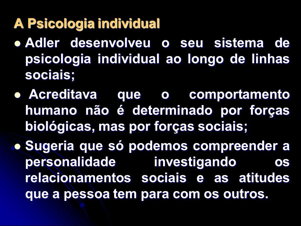 A Psicologia individual Adler desenvolveu o seu sistema de psicologia individual ao longo de linhas sociais; Adler desenvolveu o seu sistema de psicol