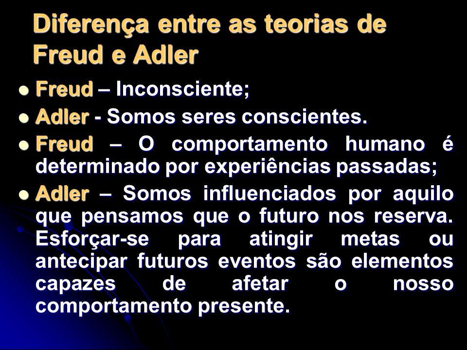 Diferença entre as teorias de Freud e Adler Freud – Inconsciente; Freud – Inconsciente; Adler - Somos seres conscientes. Adler - Somos seres conscient