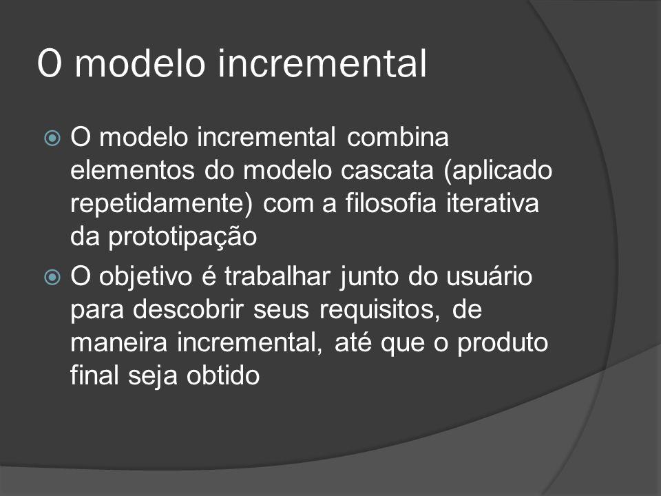 O modelo incremental O modelo incremental combina elementos do modelo cascata (aplicado repetidamente) com a filosofia iterativa da prototipação O obj