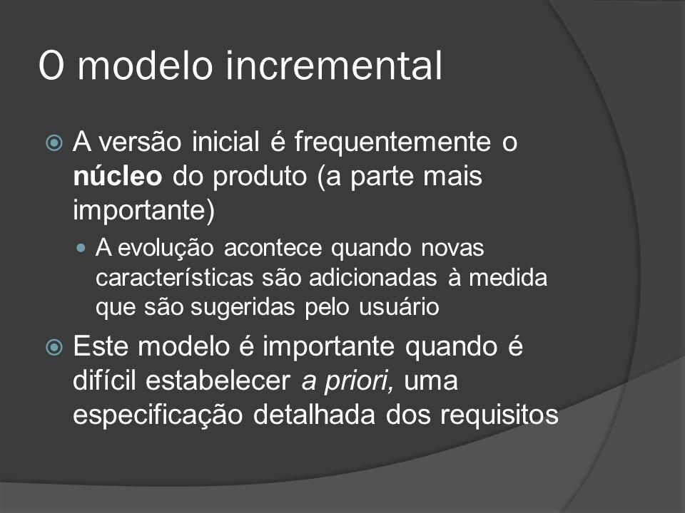 O modelo incremental A versão inicial é frequentemente o núcleo do produto (a parte mais importante) A evolução acontece quando novas características