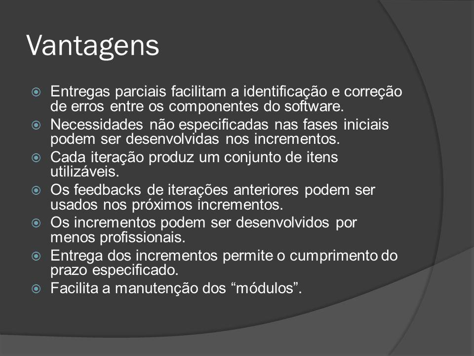 Vantagens Entregas parciais facilitam a identificação e correção de erros entre os componentes do software. Necessidades não especificadas nas fases i