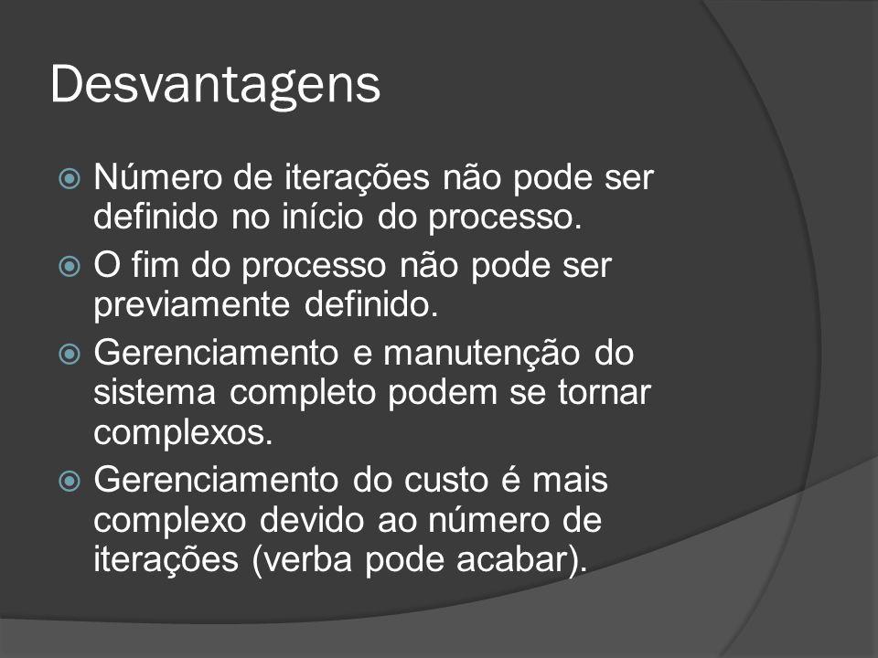 Desvantagens Número de iterações não pode ser definido no início do processo. O fim do processo não pode ser previamente definido. Gerenciamento e man